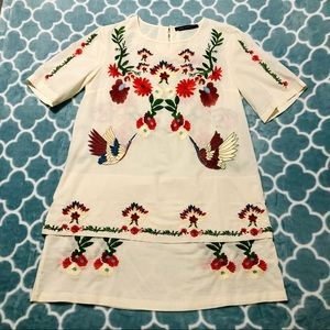 Floral Embroidered Ivory Dress